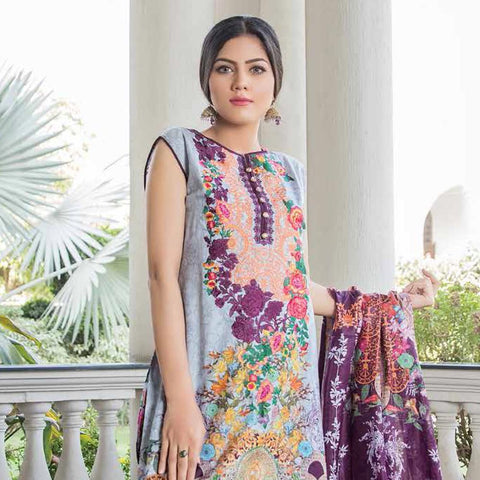Hajra Rashid Embroidered Lawn 3 Piece Un-Stitched Suit Vol 3 - A 1025