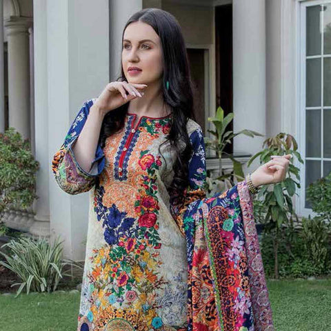 Hajra Rashid Embroidered Lawn 3 Piece Un-Stitched Suit Vol 3 - B 1025