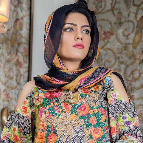 Hajra Rashid Embroidered Lawn 3 Piece Un-Stitched Suit Vol 3 - A 1026