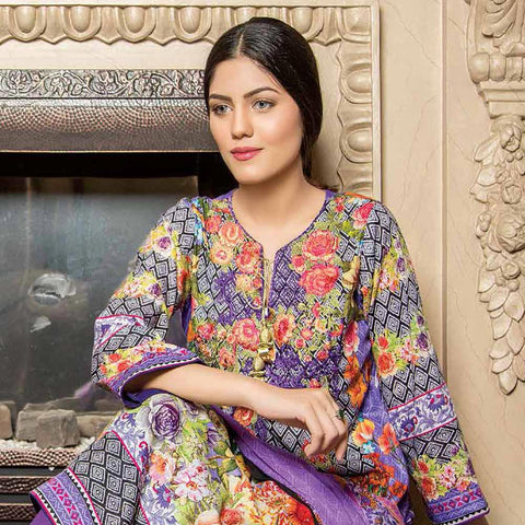 Hajra Rashid Embroidered Lawn 3 Piece Un-Stitched Suit Vol 3 - B 1026