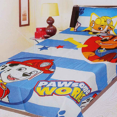 Pawsome Work Cartoon Printed Single Bed Sheet Blue