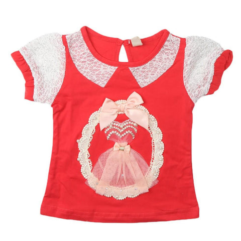 Girls T-Shirt Red - test-store-for-chase-value