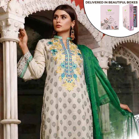 Zobia Noor Embroidered Lawn 3 Piece Un-Stitched Suit - ZN-03A