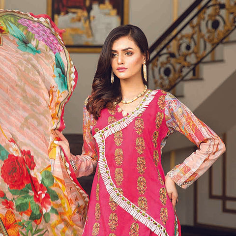 Masumery Embroidered Lawn 3 Piece Un-Stitched Suit Vol 17 - 10