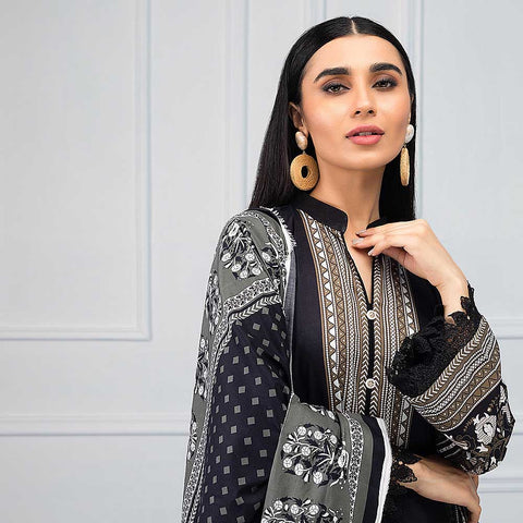 Salina Black & White Printed Lawn 3 Piece Un-Stitched Suit - 10