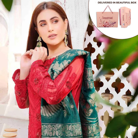 Exclusively Yours Heavy Embroidered Chiffon 3 Piece Un-Stitched Suit - 4632