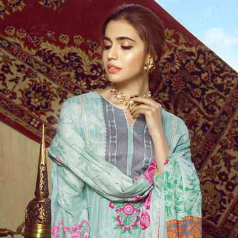 Monsoon Printed Lawn 3 Piece Un-Stitched Suit Vol 1 - 10 A