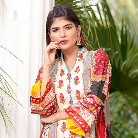 Riwaj Printed Lawn 3 Piece Un-Stitched Suit Vol 1 - 10 A