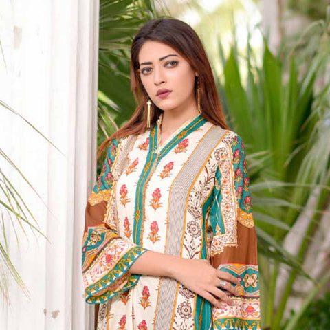 Riwaj Printed Lawn 3 Piece Un-Stitched Suit Vol 1 - 10 B