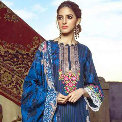 Monsoon Printed Lawn 3 Piece Un-Stitched Suit Vol 1 - 10 B