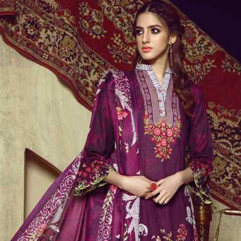 Monsoon Printed Lawn 3 Piece Un-Stitched Suit Vol 1 - 10 C