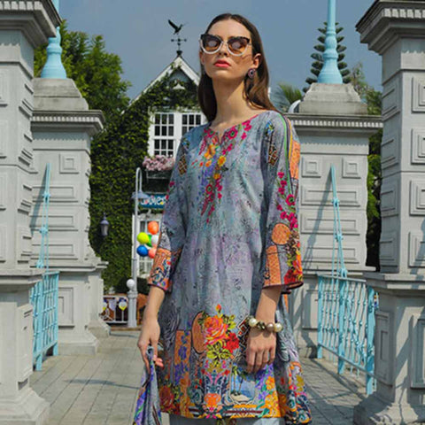 Salina Digital Printed Cotton Satin 3 Piece Un-Stitched Suit - 11