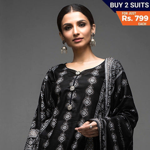 Sahil Black & White Printed Lawn Un-Stitched Suit 11
