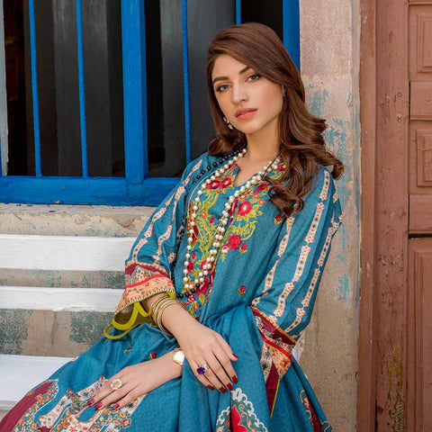 Regalia Digital Printed Embroidered Lawn 3 Piece Un-Stitched Suit Vol 2 - 11