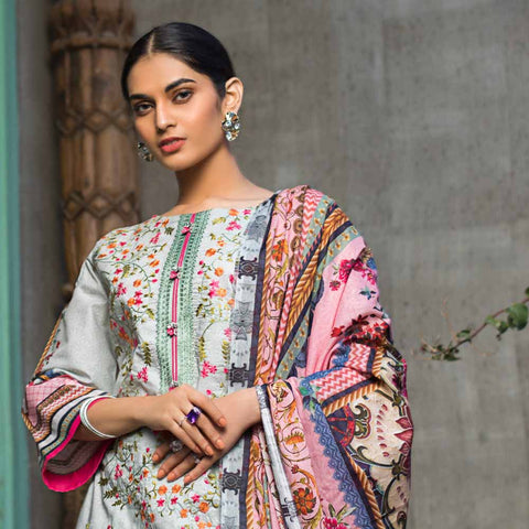 Regalia Digital Printed Embroidered Lawn 3 Piece Un-Stitched Suit - 11