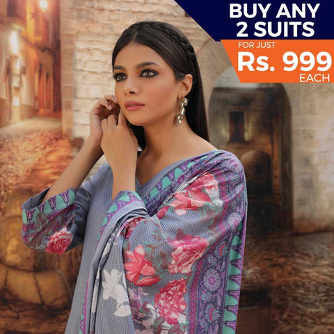 Rangreza Printed Cotton 3 Piece Un-Stitched Suit - 11