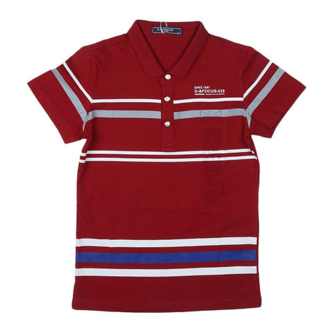 Boys T-Shirt Polo Maroon - test-store-for-chase-value