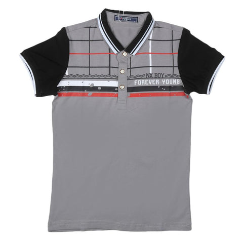 Boys T-Shirt Polo Light Grey - test-store-for-chase-value
