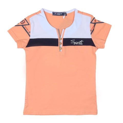 Boys T-Shirt Round Neck Peach - test-store-for-chase-value