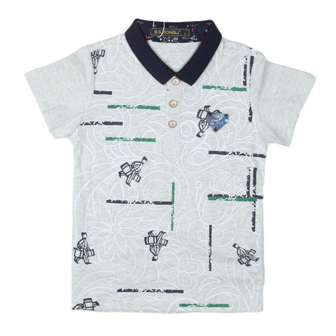 Boys Polo T-Shirt Light-Grey - Light Grey - test-store-for-chase-value