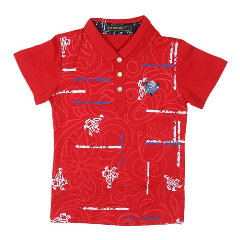 Boys Polo T-Shirt Red - test-store-for-chase-value