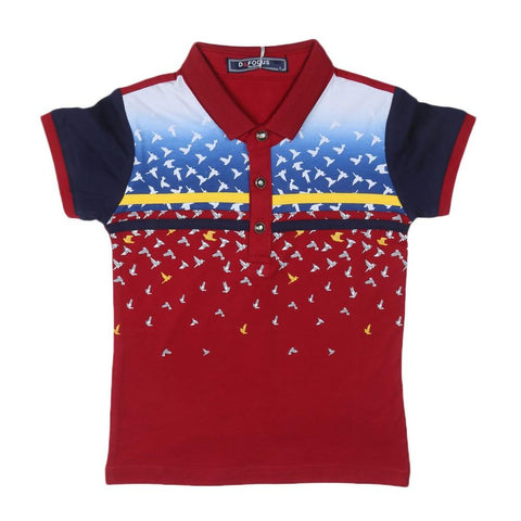 Boys Polo T-Shirt Maroon - test-store-for-chase-value