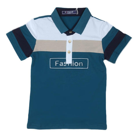 Boys Polo T-Shirt Steel Blue - test-store-for-chase-value
