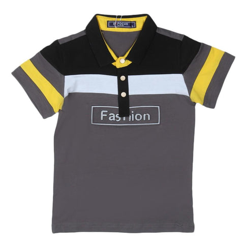 Boys Polo T-Shirt Grey - test-store-for-chase-value
