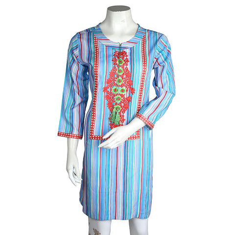 Women's Embroidered Kurti - Light Blue - test-store-for-chase-value