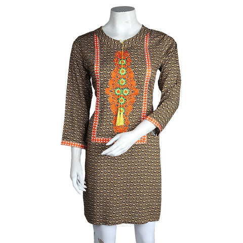 Women's Embroidered Kurti - Dark Brown - test-store-for-chase-value