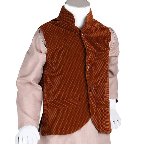 Boys Velvet Waistcoat - Brown - Coffee - test-store-for-chase-value