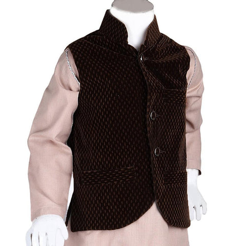 Boys Velvet Waistcoat - Dark Brown - test-store-for-chase-value
