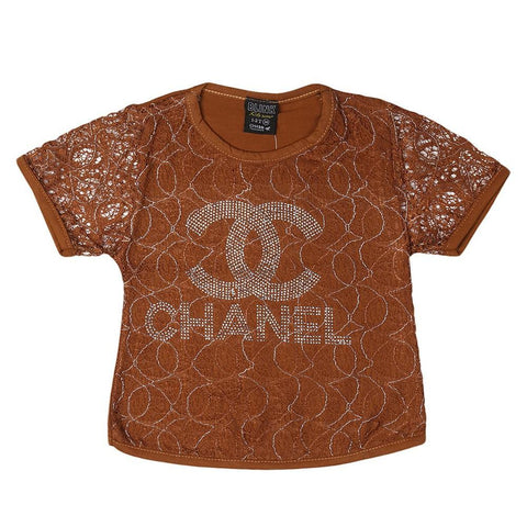 Girls Round Neck T-Shirt - Brown - Coffee - test-store-for-chase-value