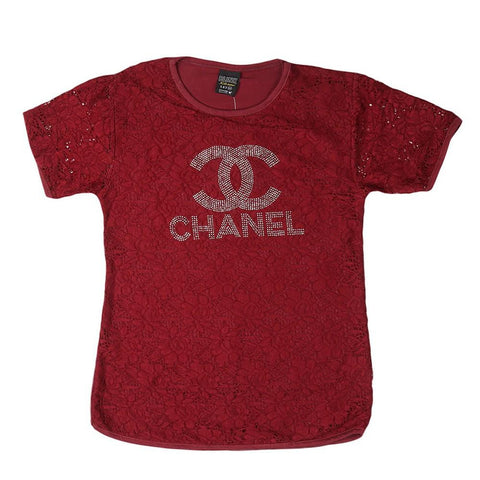Girls Round Neck T-Shirt - Maroon - test-store-for-chase-value