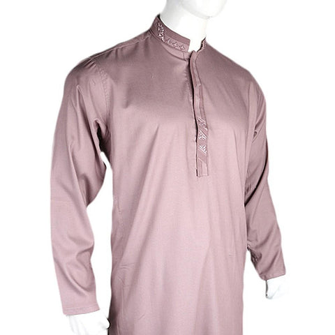 Men's Embroidered Kameez Shalwar Suit - Light Purple - test-store-for-chase-value
