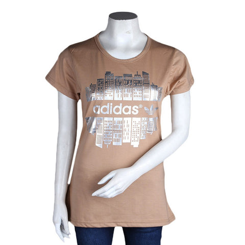 Women's Printed T-Shirt - Brown - test-store-for-chase-value