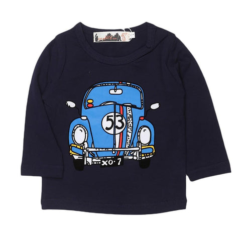 Boys Round Neck T-Shirt - Navy Blue - test-store-for-chase-value