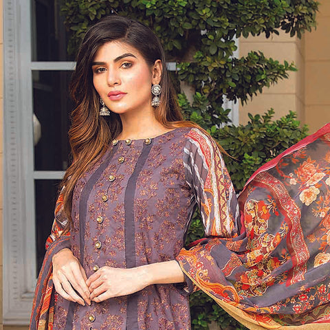 Masumery Embroidered Lawn 3 Piece Un-Stitched Suit Vol 17 - 11