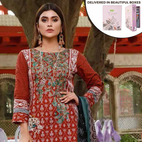 Zobia Noor Embroidered Lawn 3 Piece Un-Stitched Suit - ZN-02A
