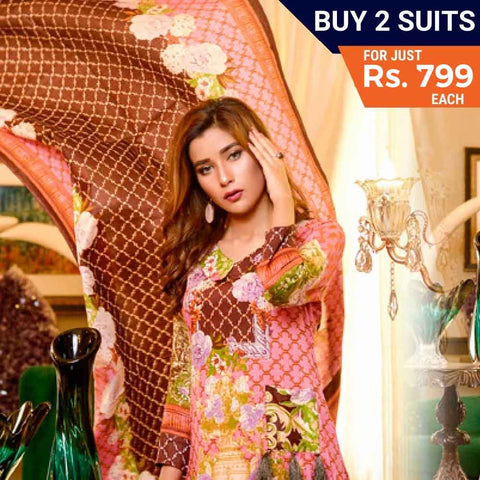 Three Star Printed Lawn Festive 3 Piece Un-Stitched Suit Vol 05 - 2A
