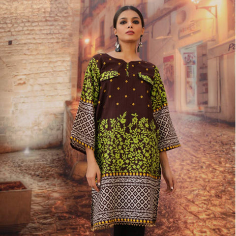Chase Value Centre Printed Khaddar Un-Stitched Kurti Vol 3 - 11