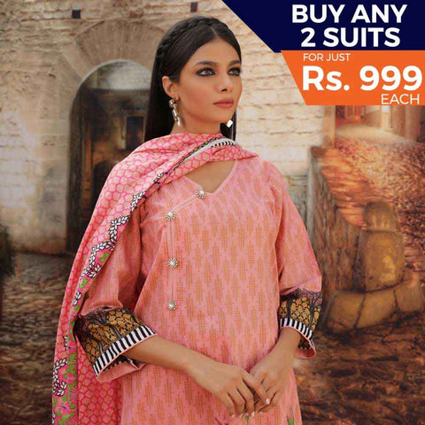 Rangreza Printed Cotton 3 Piece Un-Stitched Suit - 12
