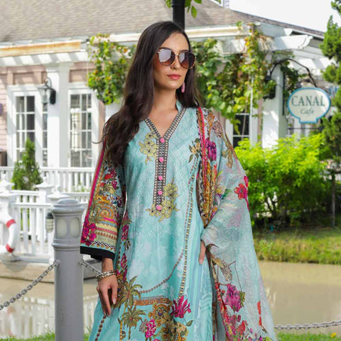 Salina Digital Printed Cotton Satin 3 Piece Un-Stitched Suit - 12