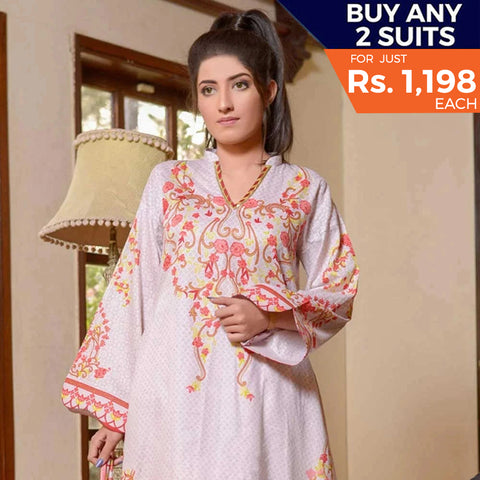 Libas Printed Lawn 3 Piece Un-Stitched Suit Vol 1 - 7 B