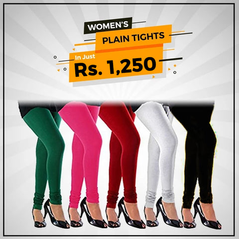 Women's Plain Tights Pack Of 5 - Multi - test-store-for-chase-value