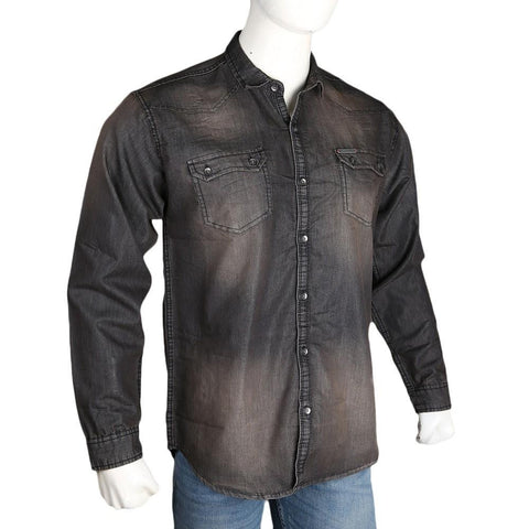 Men's Denim Casual Shirt - Brown - test-store-for-chase-value