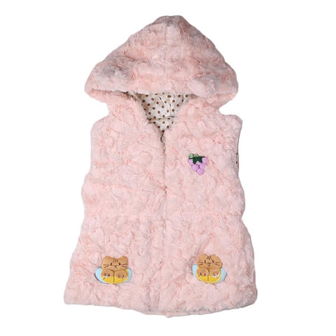 Girls Hooded Fur Jacket - Peach - test-store-for-chase-value