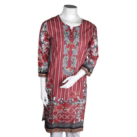 Women's Digital Cambric Kurti - Maroon - test-store-for-chase-value
