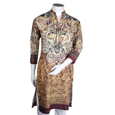 Women's Digital Cambric Kurti - Mustard - test-store-for-chase-value