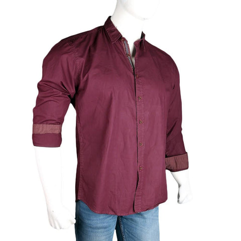 Men's Casual Plain Shirt - Maroon - test-store-for-chase-value